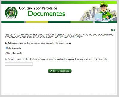 Constancia de perdida de documentos: Consultar, imprimir o eliminar
